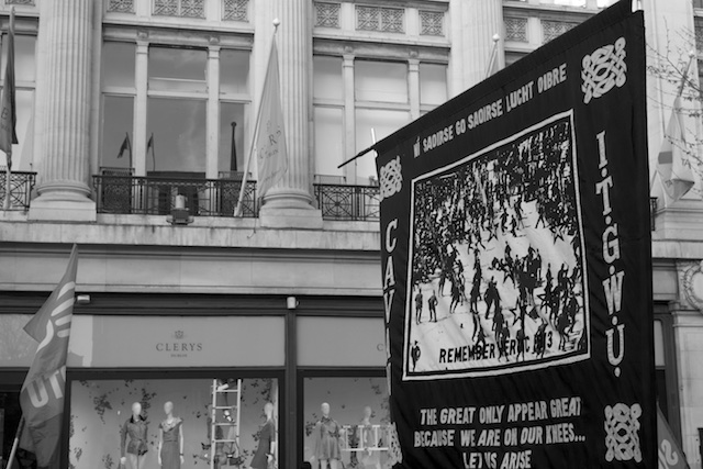 1913 Lockout banner outside the Metropole Hotel now Clearys