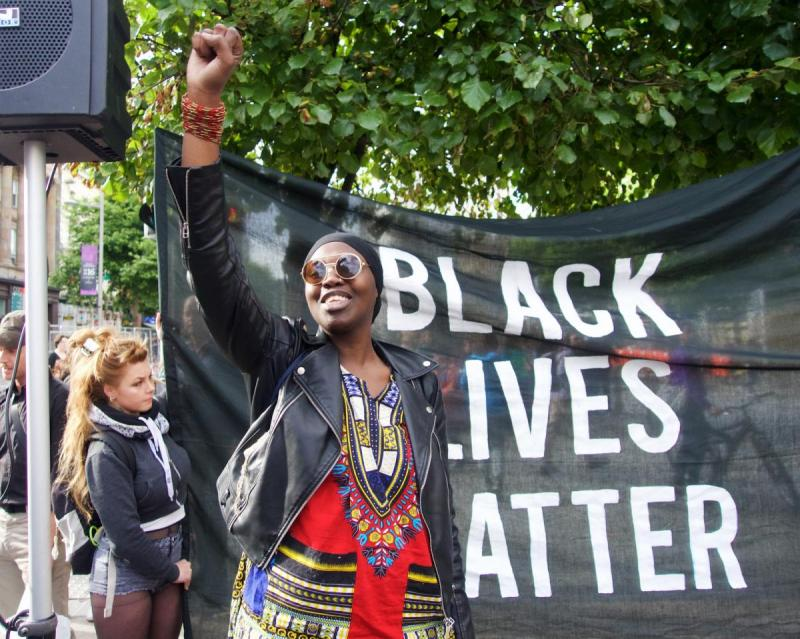 Black Power salute in front of Black Lives Matter banner outside GPO in Dublin