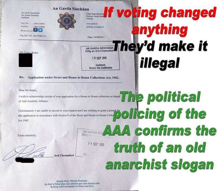 Garda letter to AAA banning them from collecting money with anarchist slogan