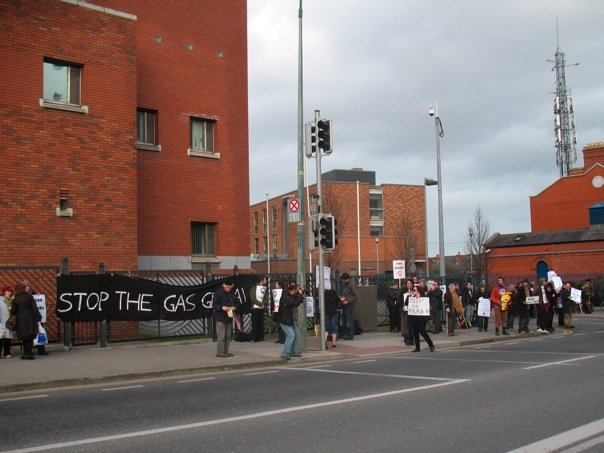 Mountjoy prison in Dublin during a Shell to Sea protest